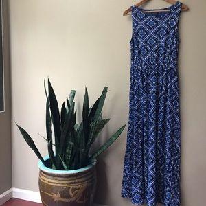 🍀 Lucky Brand Batik Blue Maxi Dress Size Med 🍀